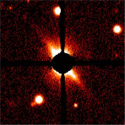 Optical coronagraphic image of the disk around AU Mic